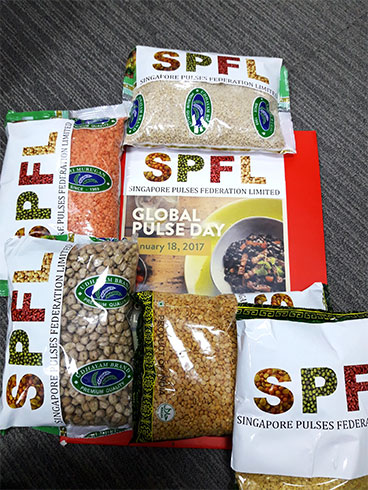Packs of various pulses labeled with Singapore Pulses Federation Limited and Global Pulse Day