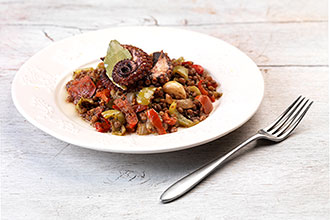 Baked Octopus with Lentils by Chef Argiro Barbarigou