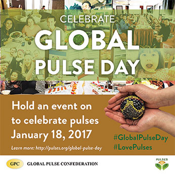 Celebrate Global Pulse Day, hold an event to celebrate pulses, January 18, 2017