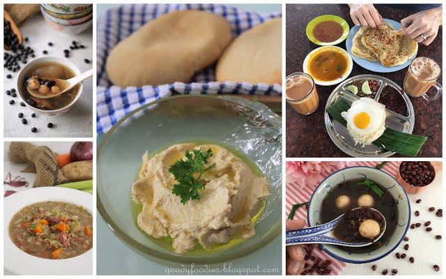Collage of recipe photos incorporating pulses