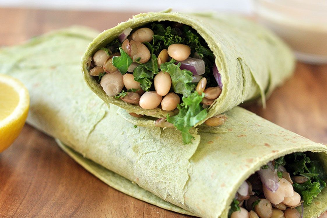 White Bean, Lentil and Kale Wraps