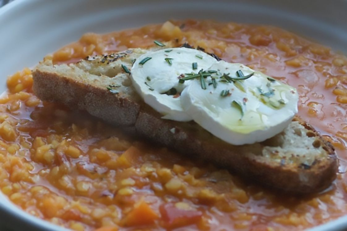 Red Lentil, Tomato & Rosemary Soup with Goat's Cheese Toastie
