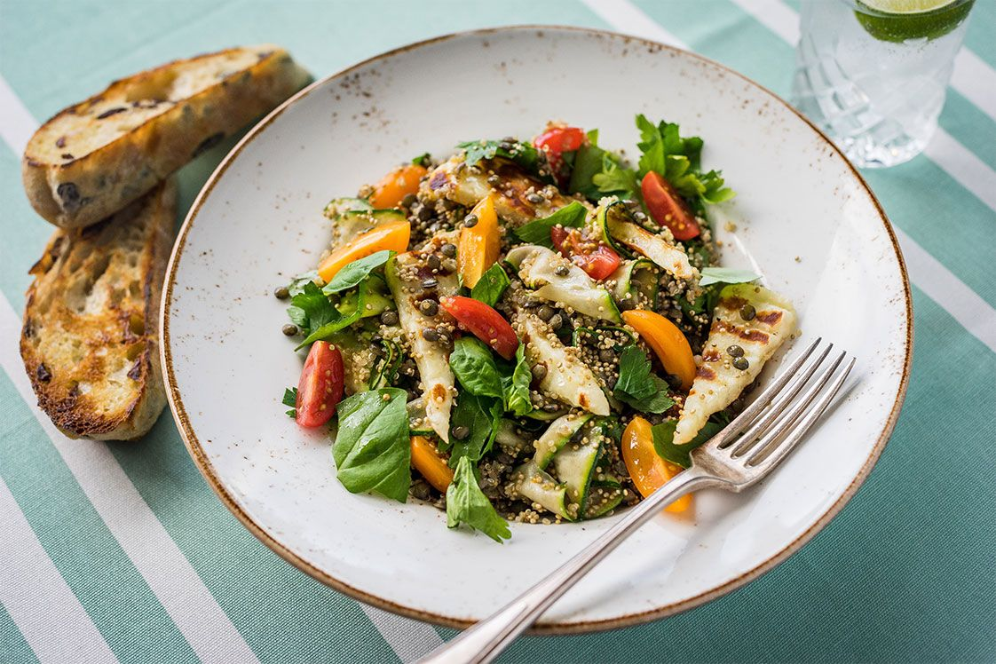 Zucchini, Halloumi, Tomato and Healthy Grain Salad