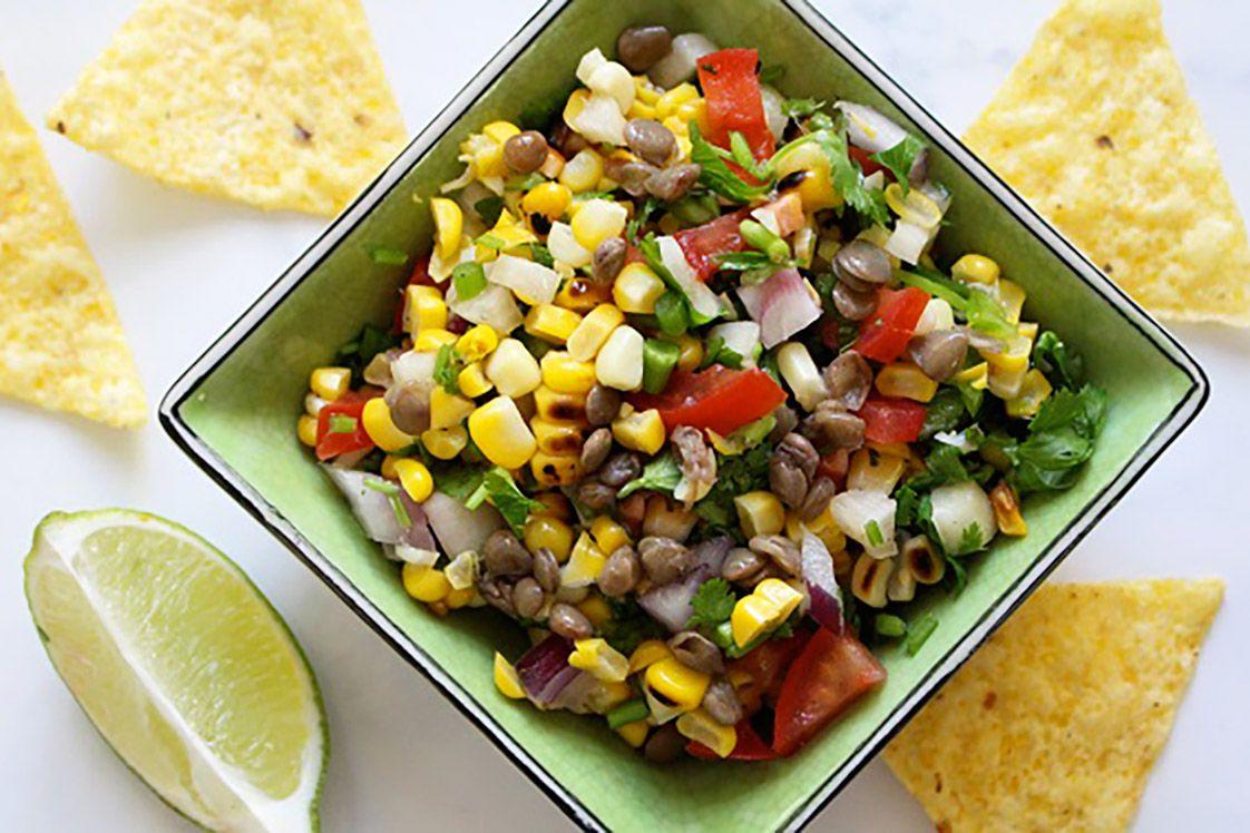 Charred Corn and Lentil Salsa