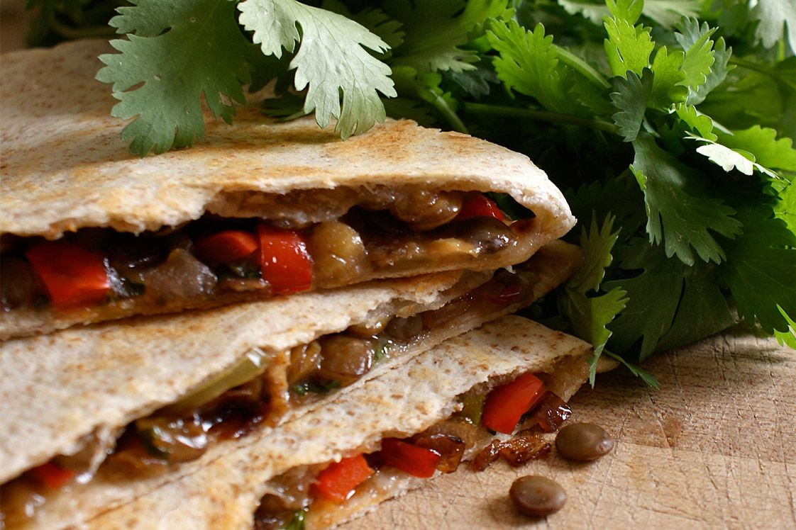 Charred Red Pepper, Lentil & Feta Quesadillas