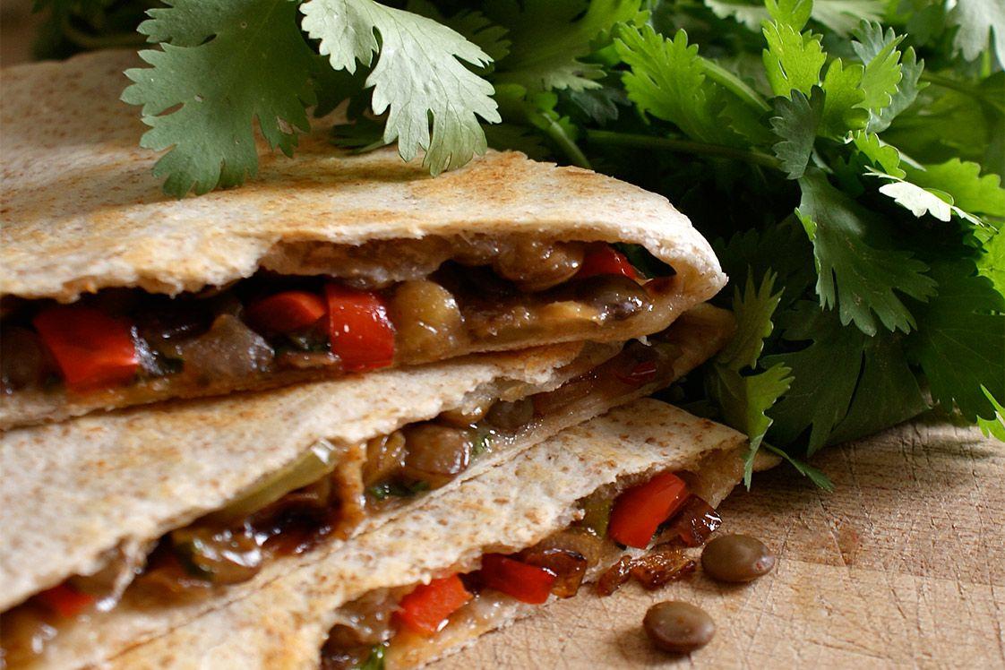 Charred Red Pepper, Lentil & Feta Quesadillas