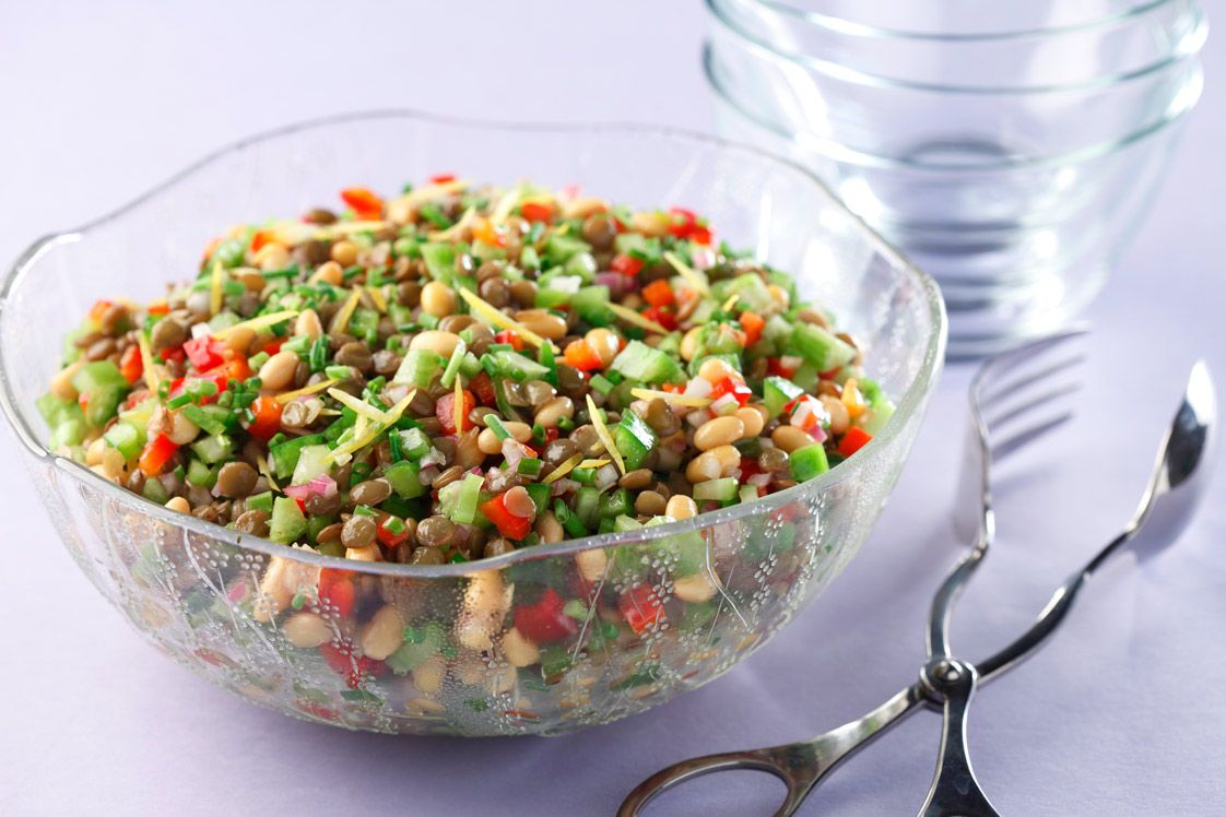 Lentil and Soybean Salad with Lemon Parsley Vinaigrette