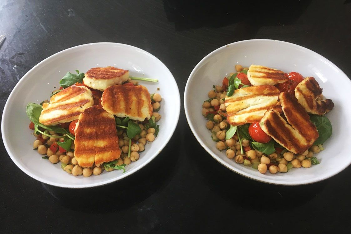 Warm Halloumi and Chickpea Salad