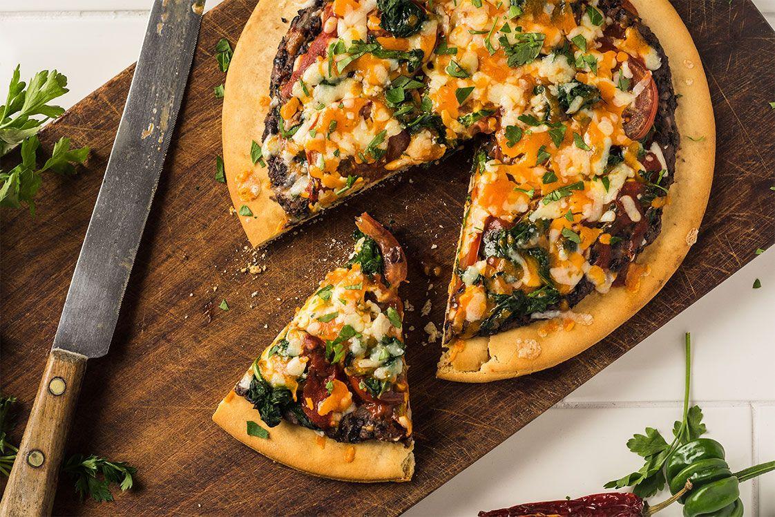 Black Bean, Salsa and Spinach Pizza