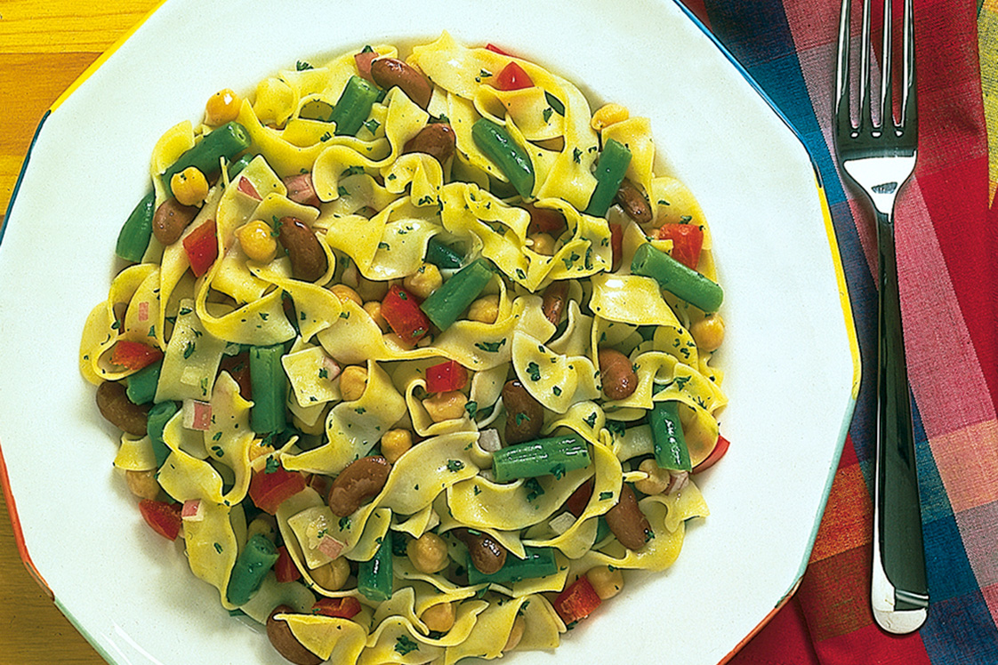 Three Bean Salad With Pasta Recipe