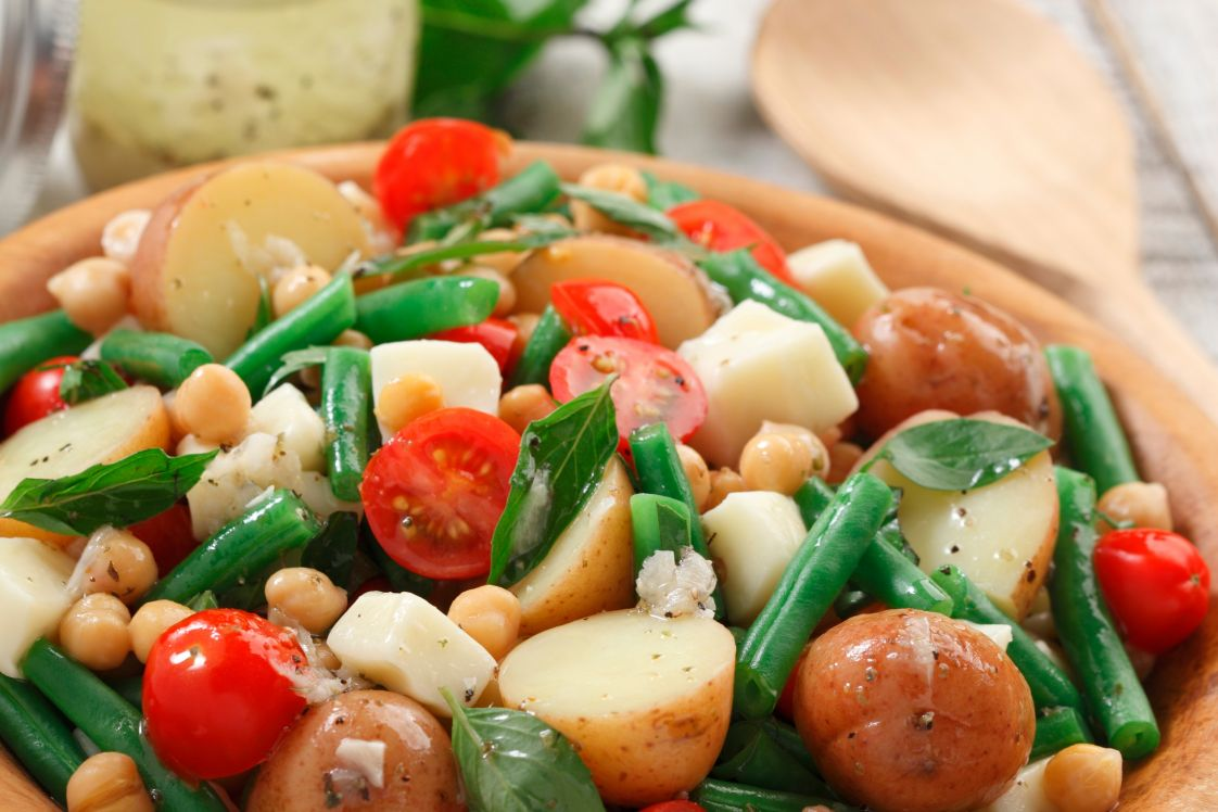 Lemony Potato Salad with Chickpeas and Mozzarella
