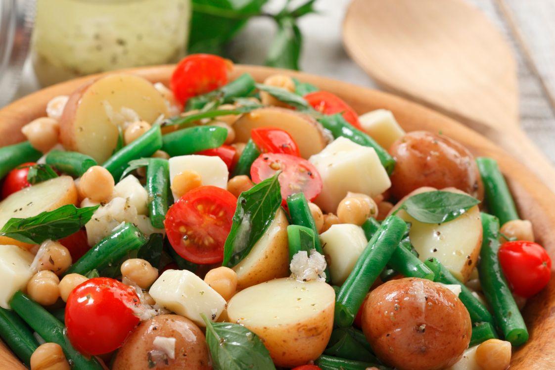Lemony Potato Salad with Chickpeas and Mozzarella