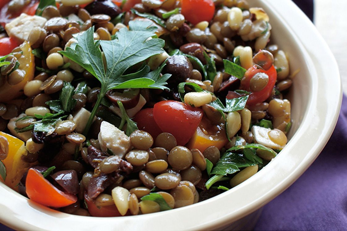 Marinated Lentil Salad with Orange-Balsamic Dressing and Olives