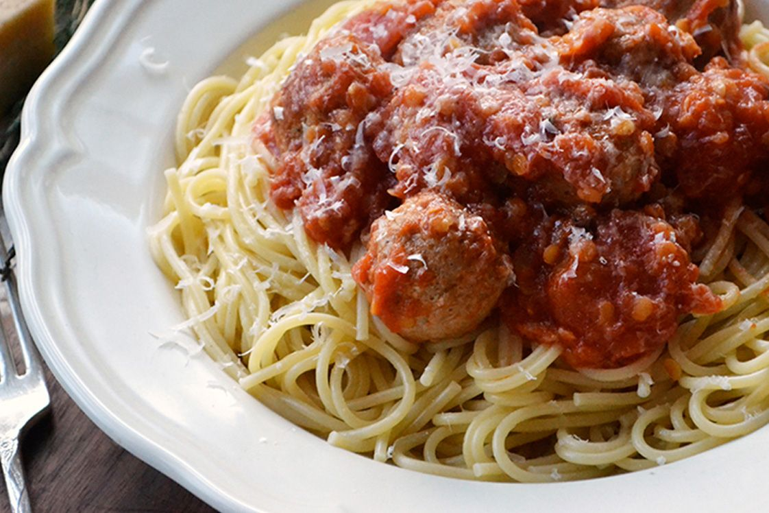 Spaghetti with Sausage Meatballs & Lentils