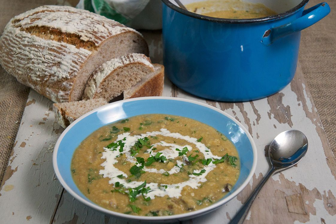 Whole Yellow Pea and Mushroom Soup