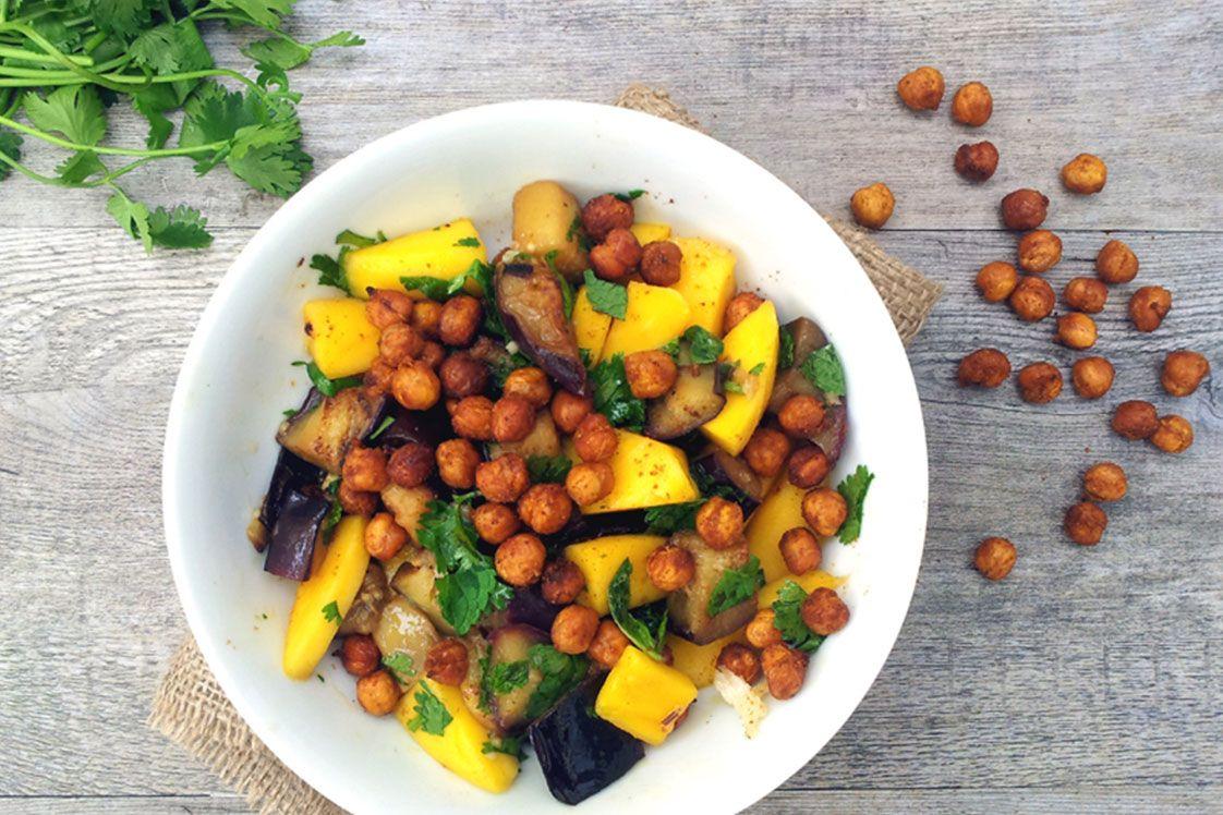 Aubergine Mango Salad with Spicy Roasted Chickpeas