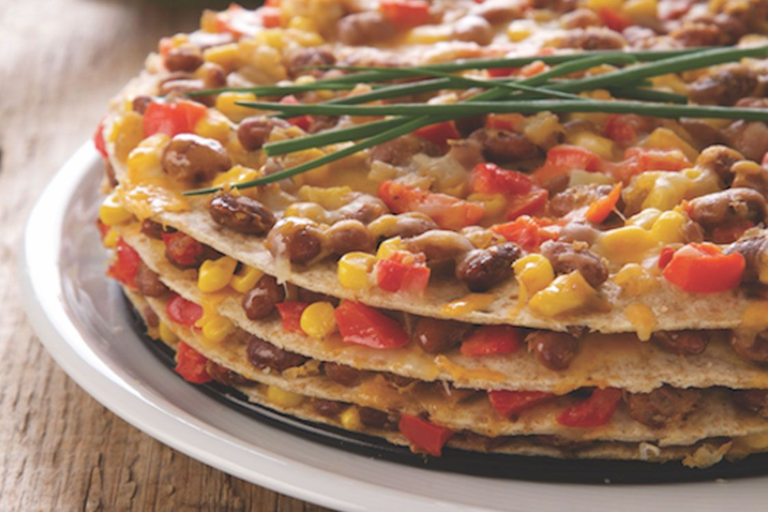 Stacked Tortilla & Bean Pie