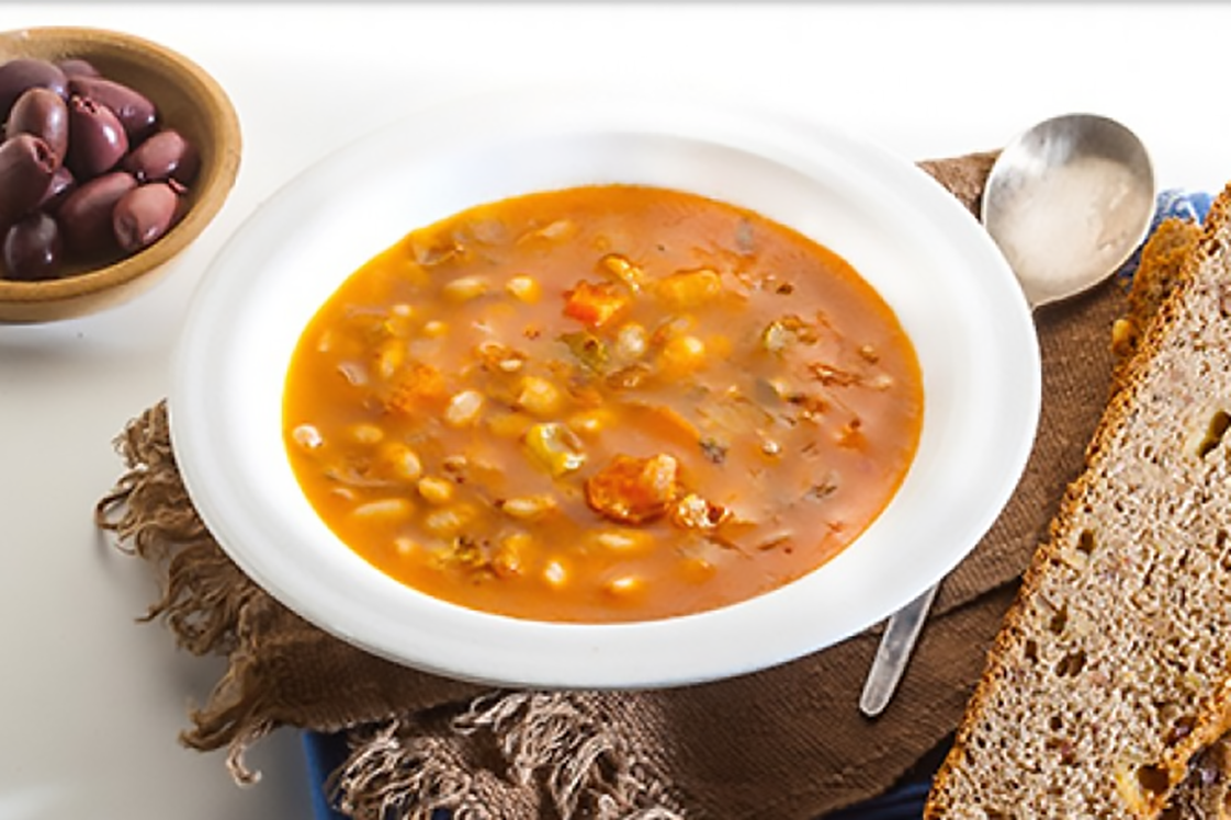 Winter Bean Soup & Cheesy Bread with Walnuts