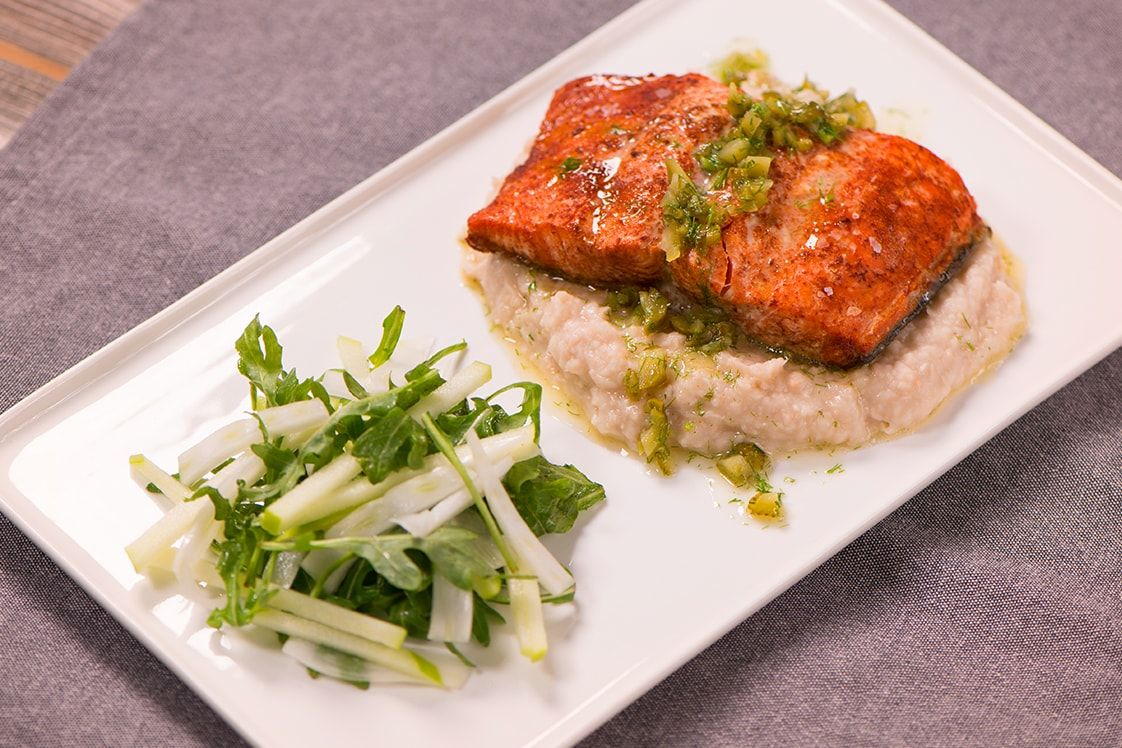 Salmon with White Bean Mash & Dill Sauce