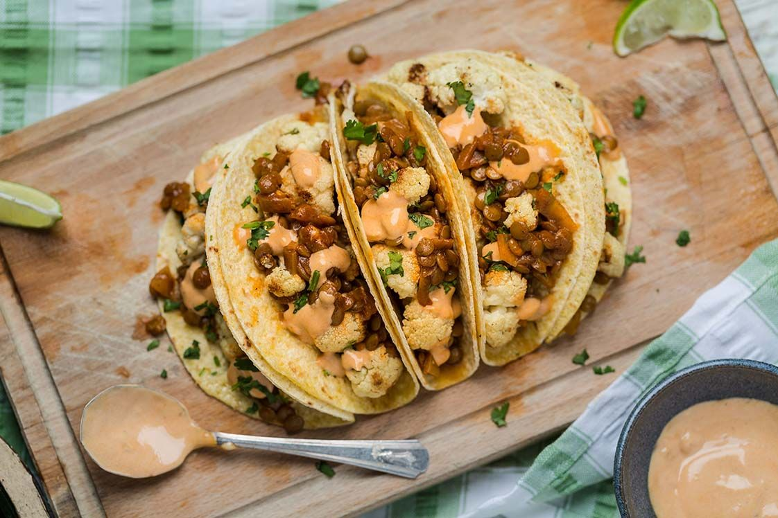 Roasted Cauliflower and Seasoned Lentil Tacos