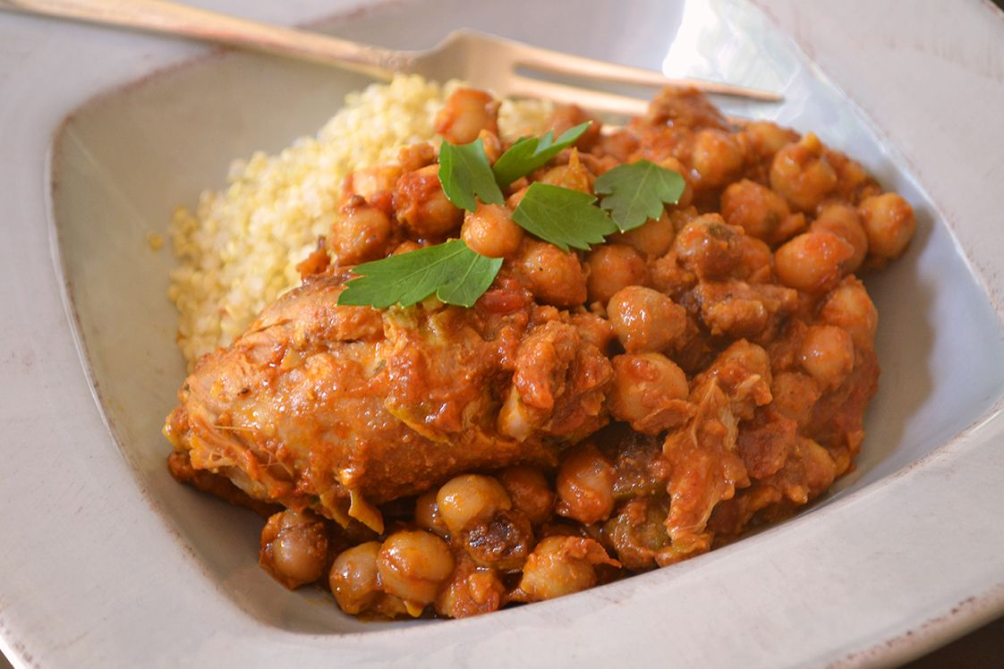 Curried Peanut Chickpeas & Chicken Thighs