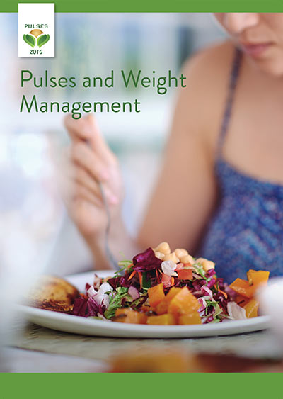 An image of the front cover of the 'Pulses and Weight Management' guide