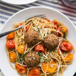 Lentil Meatballs with Burst Tomato Pasta