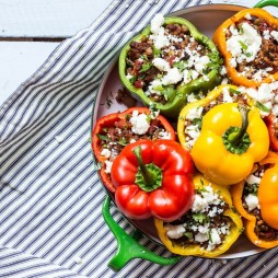 Stuffed Roasted Peppers with Lentils, Beef & Mushrooms