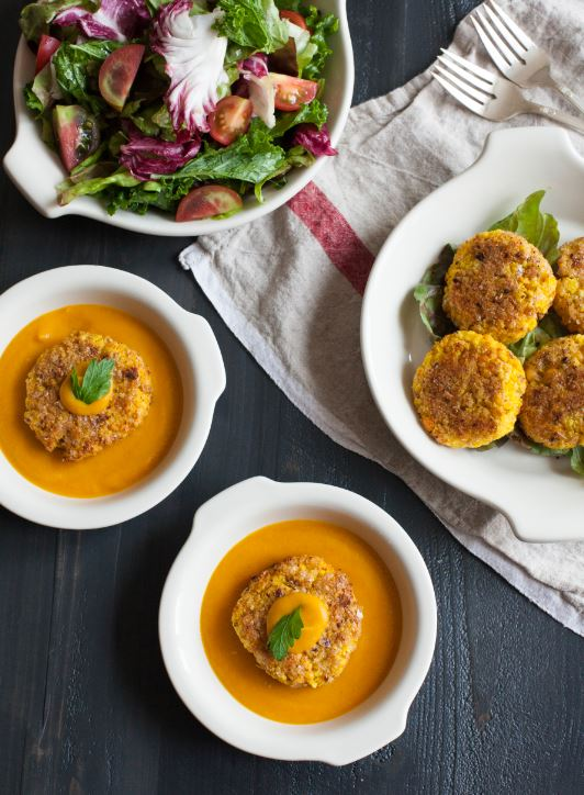 yellow split pea millet cakes with miso soup
